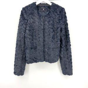Joes Jeans Fur Jacket L Vegan Faux Navy Blue Zip